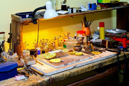 Work table in the small craftsmanship studio