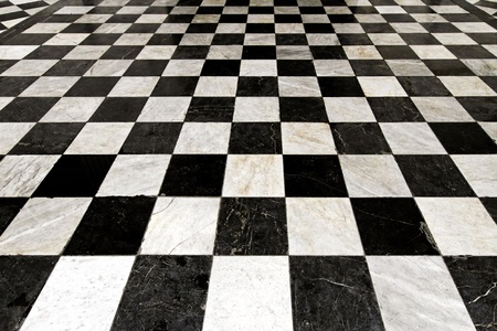 Black and white tiles in checkers pattern