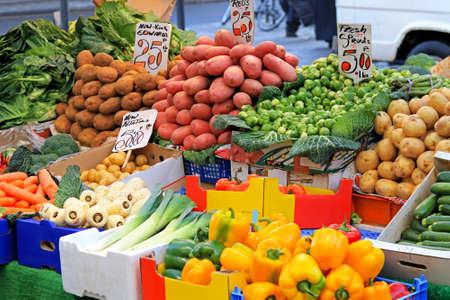Fresh organic vegetable on street market stall