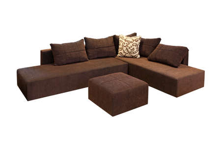 Brown corner set furniture isolated included