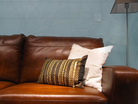 Two decorative pillows at brown leather sofa