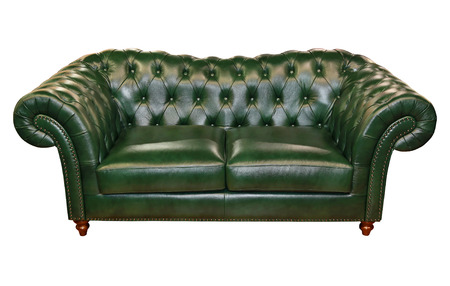 Green leather sofa isolated