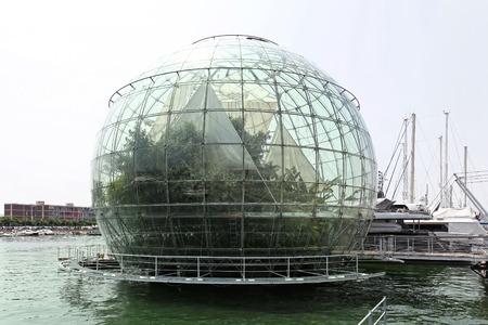 Biosphere globe tropical greenhouse in port of Genoa