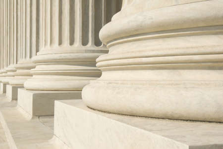 A row of columns at the entrance to the US Supreme Court in Washington, DC.