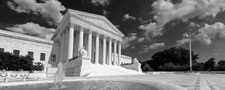 A black and white panorama of the front of the US Supreme Court in Washington, DC.