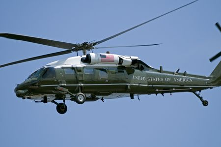 A helicopter as used by the US President, when it is referred to as Marine One.