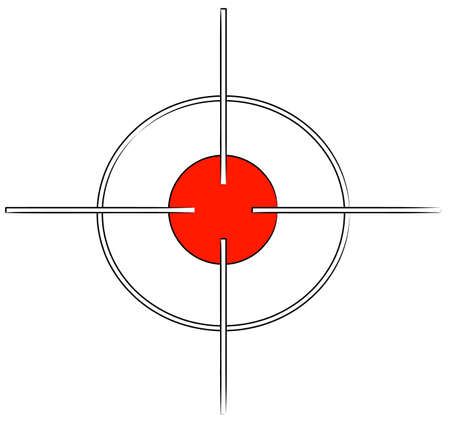 gun target or cross hairs with red mark - vector