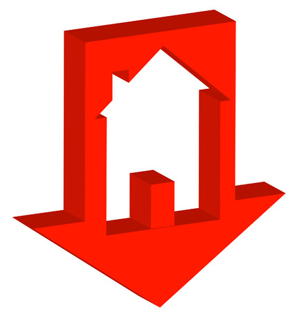 3D red down arrow with house inside - crashing housing market - vector