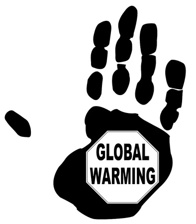stop global warming sign in the print of a hand