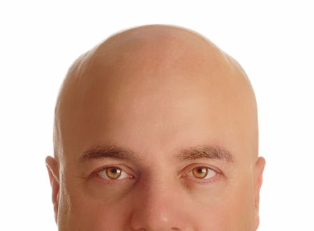 middle age man with bald head isolated on white background