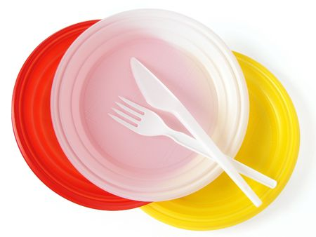 colorful disposable dishware set on white