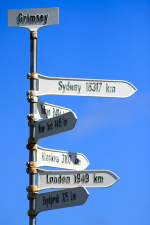 The Grimsey signpost marks the Arctic Circle