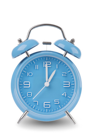 Blue alarm clock with the hands at 1 am or pm isolated on a white background, One of a set of 12 images showing the top of the hour starting with 1 am / pm and going through all 12 hours