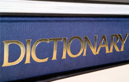 Dictionary spine in gold letters.  Shallow dof.