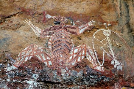 Aboriginal rock art (Namondjok) at Nourlangie, Kakadu National Park, Northern Territory, Australia