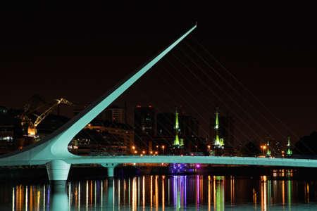 Bridge of the Woman  Puente De La Mujer  by night, Buenos Aires, Argentina