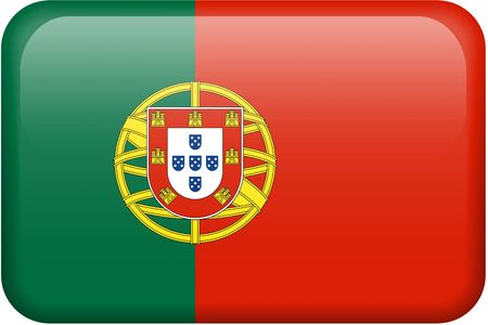 Portuguese flag rectangular button.  Part of set of country flags all in 2:3 proportion with accurate design and colors.