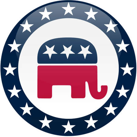 Election themed round button with 3d effect, Republican party logo - clipping path included