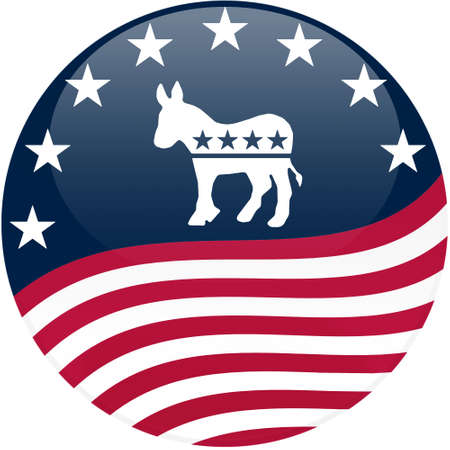 Election themed round button with 3d effect, Democrat logo with waving American flag - clipping path included