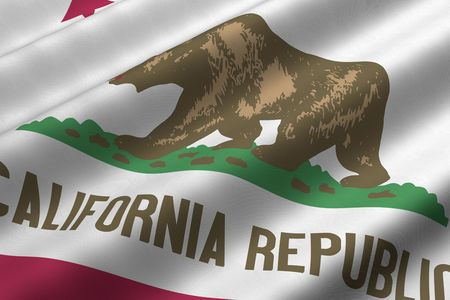 Detailed 3d rendering closeup of the flag of the US State of California.  Flag has a detailed realistic fabric texture.