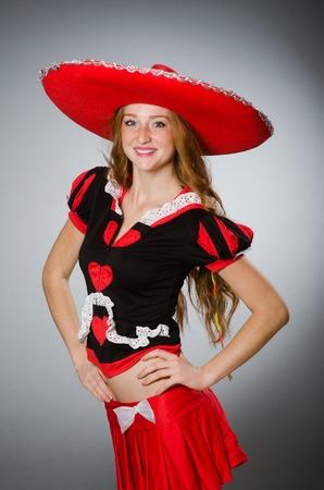 Nice woman wearing red sombrero hat