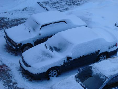 Snowed cars after night snowfall