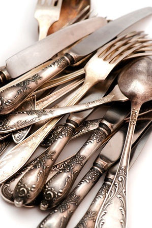 object on white - vintage silver spoon