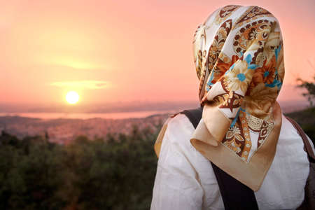 Muslim women and sunset. Muslim women fashion style.