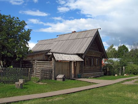 Day view of wooden house in Suzdal. (Suzdal, Vladimir region, Golden Ring of Russia).