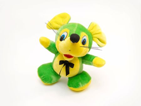 Children's soft toy as green baby mouse