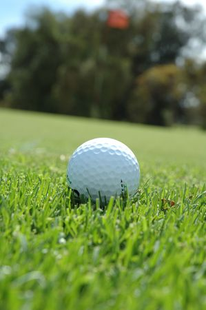 Golf ball ready to chip on the green