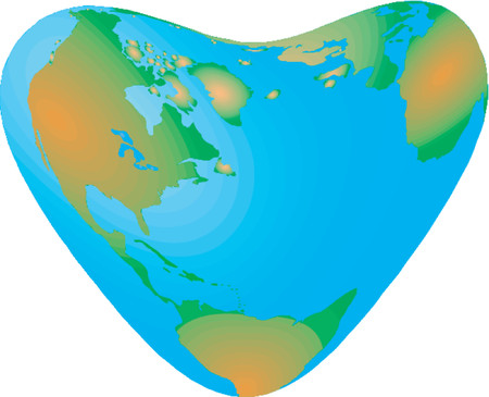 Vector map of the world in the form of heart