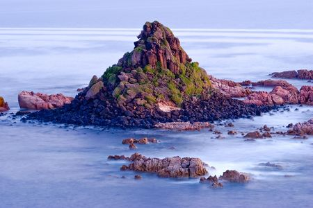 The Pyramid Rock, Philip Island, Australia with misty sea effect