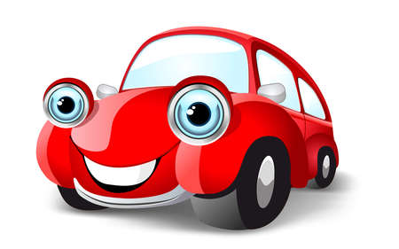 Funny red car. Vector illustration