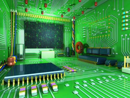 Fantasy digital room. Futuristic home inside. All in the interior made of electronic components. Conceptual high technology 3d illustration