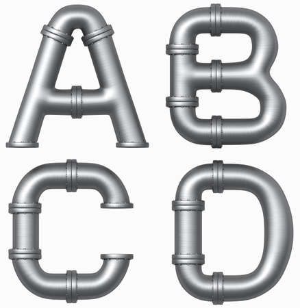 Metal stainless pipe alphabet. Industrial letters.