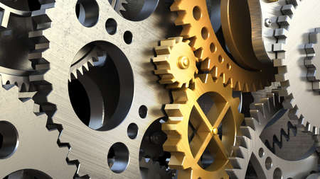 Clockwork mechanism or a machine inside. Closeup gears and cogs. 3d illustration