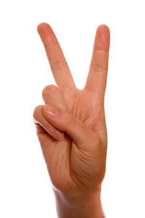 counting fingers number two (2). Peace and victory.