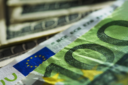 Close up view of the Euro and Dollar bills