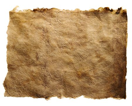 An antique brown paper with torn edges, isolated on a white background.