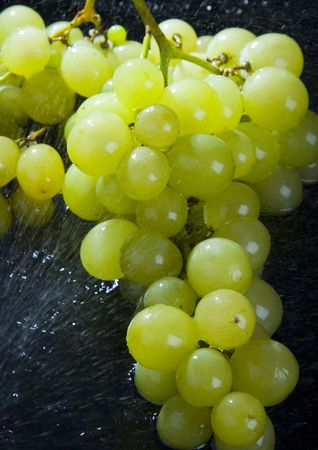 Grape is a green or purple berry that grows in bunches on a vine and that is used for making wine. Raisins are the dried fruit of the grapevine, and the name actually comes from the French word for