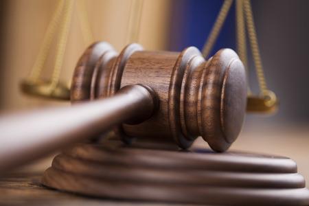 Wooden gavel barrister, justice concept, legal system
