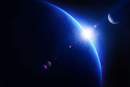 Earth sunrise with moon in deep space