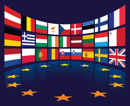 Collection of european union national flags of countries.