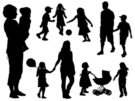 A set of parents and children silhouettes. Vector illustration.のイラスト素材