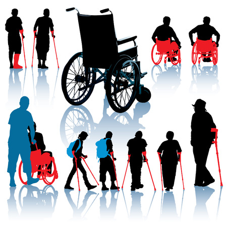 A set of wheelchair and handicapped people silhouettes