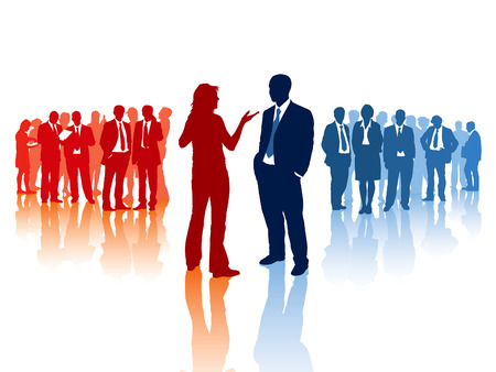 Meeting of two different business teams and their leaders