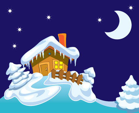 North Pole, Santa Claus house and winter background with night, stars and moon.