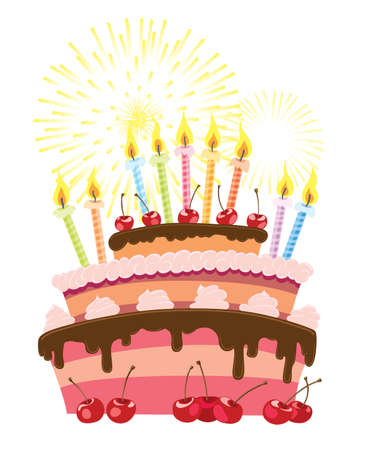 Colorful birthday cake isolated over white background