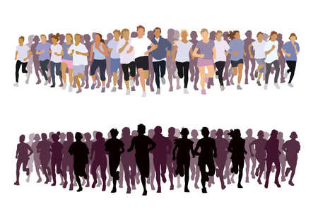 Crowd of young people running. Sport illustration.
